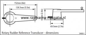 Raymarine roerstand gever M81105 afmeting
