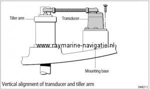 Raymarine roerstand gever M81105 vertikaal monteren