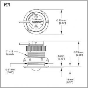 Raymarine st40 i40 st300 p371 kunststof snelheid transducer low profile afmeting 26008