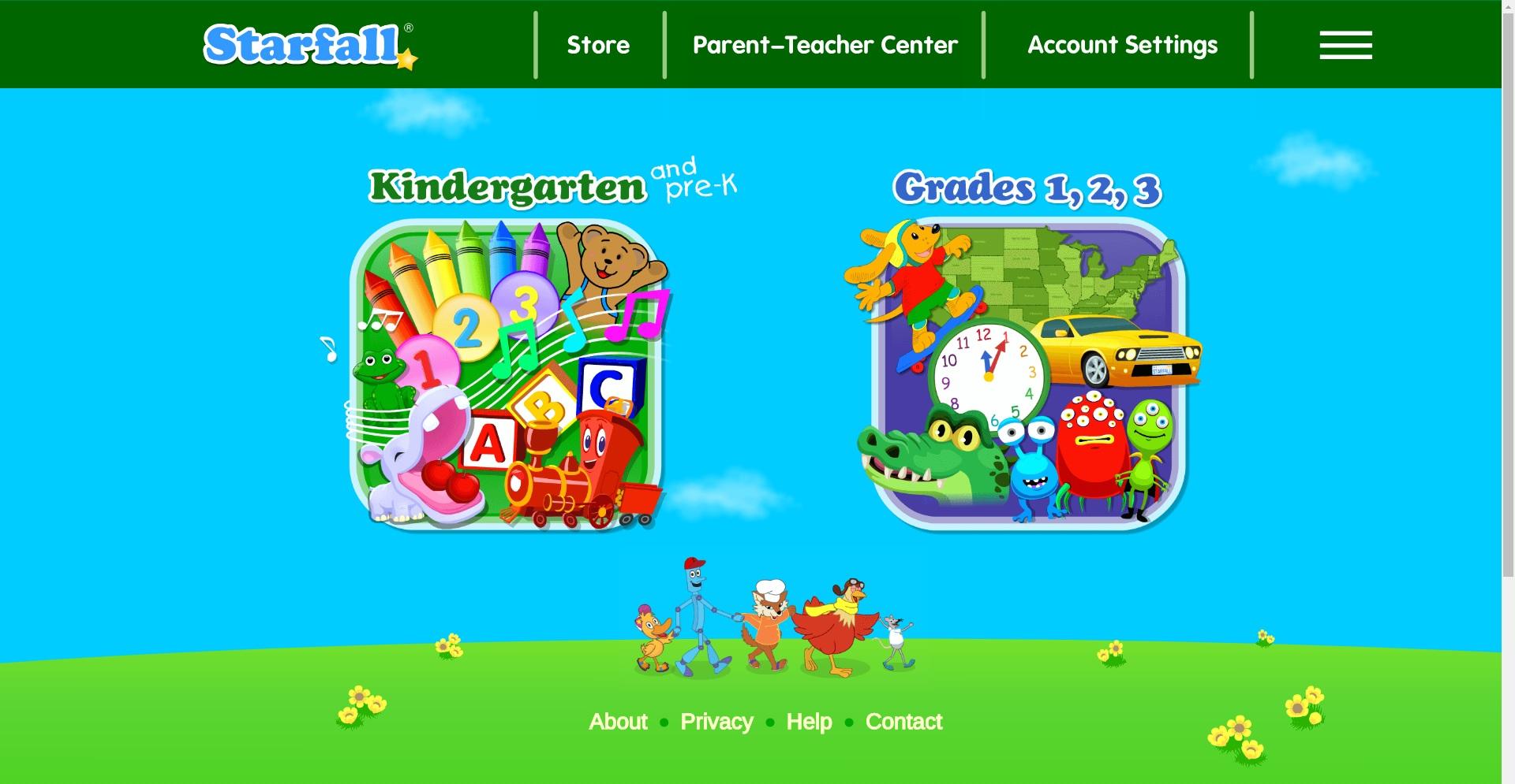 screenshot of starfall.com
