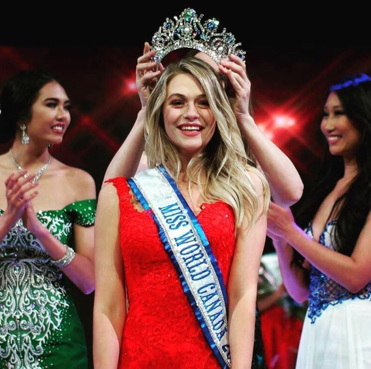 Cynthia Menard being crowned 2017 Miss World Canada on 22 July in Toronto