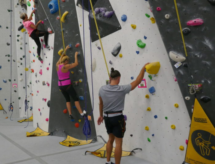 supervised wall climbing at Hub Climbing in Markham, Raymi with Casie Stewart and Martin Dasko