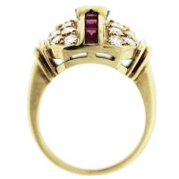 14k Yellow Gold Red Class and Cubic Zirconia Cocktail Ring