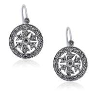 14kt White Gold Diamond Snowflake Dangle Wire Earrings