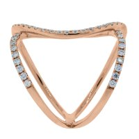18k Rose Gold Diamond Geometric Open Ring Boca Raton
