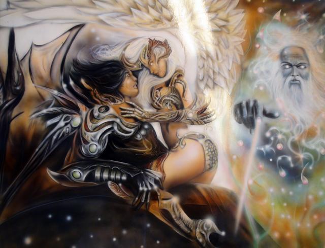 La gense peinture sur toile heroic fantasy  Raymond Planchat peintre arographe cours de