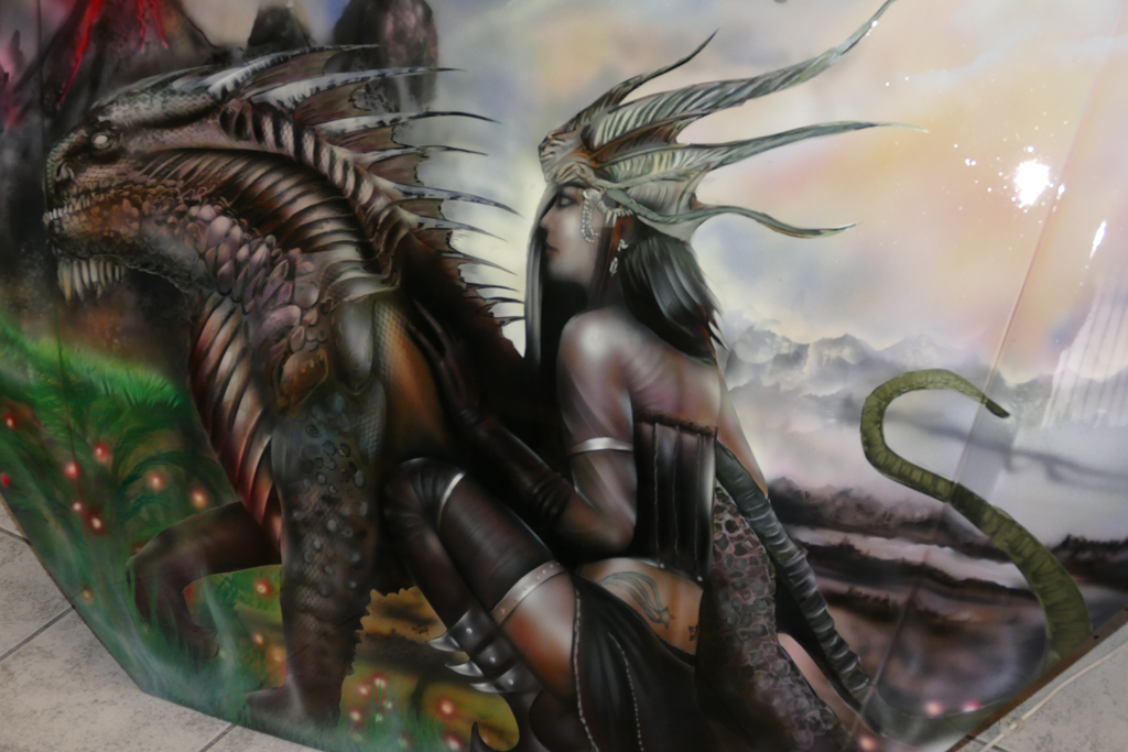 Salon du 2 roues Eurexpo 2018 dmonstration arographe partie 2  Raymond Planchat peintre