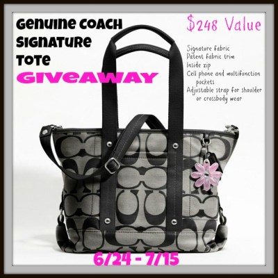 Genuine Coach Signature Tote Giveaway 6/24-7/15