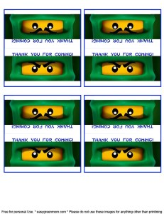 Free Printable Lego Ninjago Party Favor Label