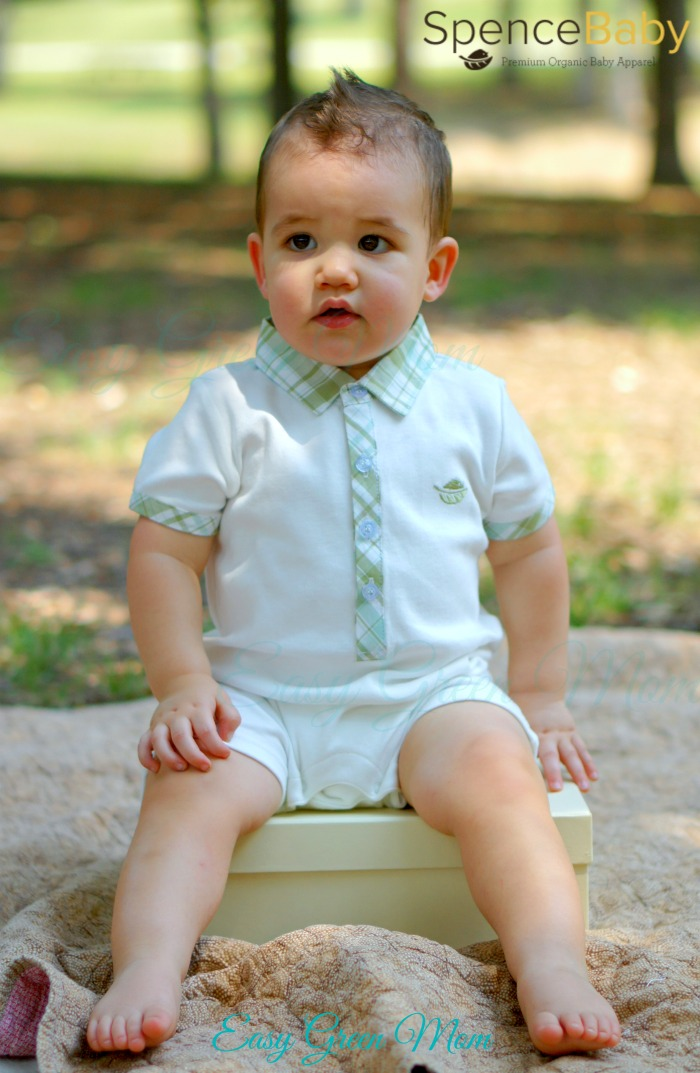 Baby Boy Organic Short Sleeve Polo Romper.