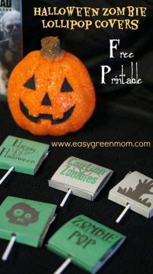 Halloween Zombie Lollipop Covers ~ Free Printable from rays of bliss