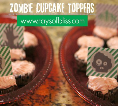 Zombie Cupcake Toppers ~ Free Printable