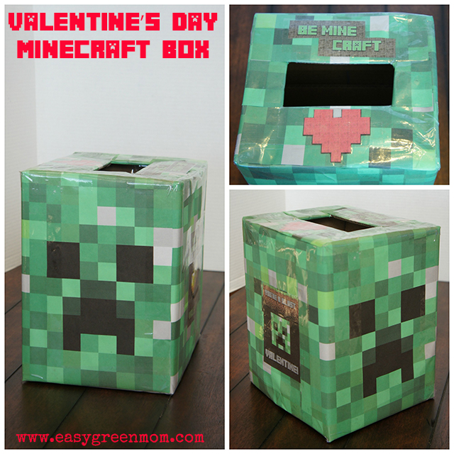 photo relating to Minecraft Valentine Box Printable identified as Simple Minecraft Creeper Thoughts Valentines Working day Box and Checklist of