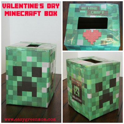 Easy Minecraft Creeper Head Valentine's Day Box and List of Free Valentines Printables