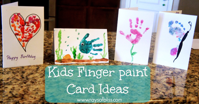 Kids finger paint card ideas rays of bliss for my sisters birthday i had my boys and nieces make her special homemade cards handprint and footprints make any greeting card extra special and are bookmarktalkfo