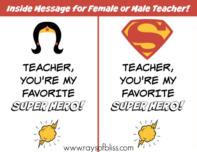 Superhero Teacher Card Free Printable inside message for female or male teacher