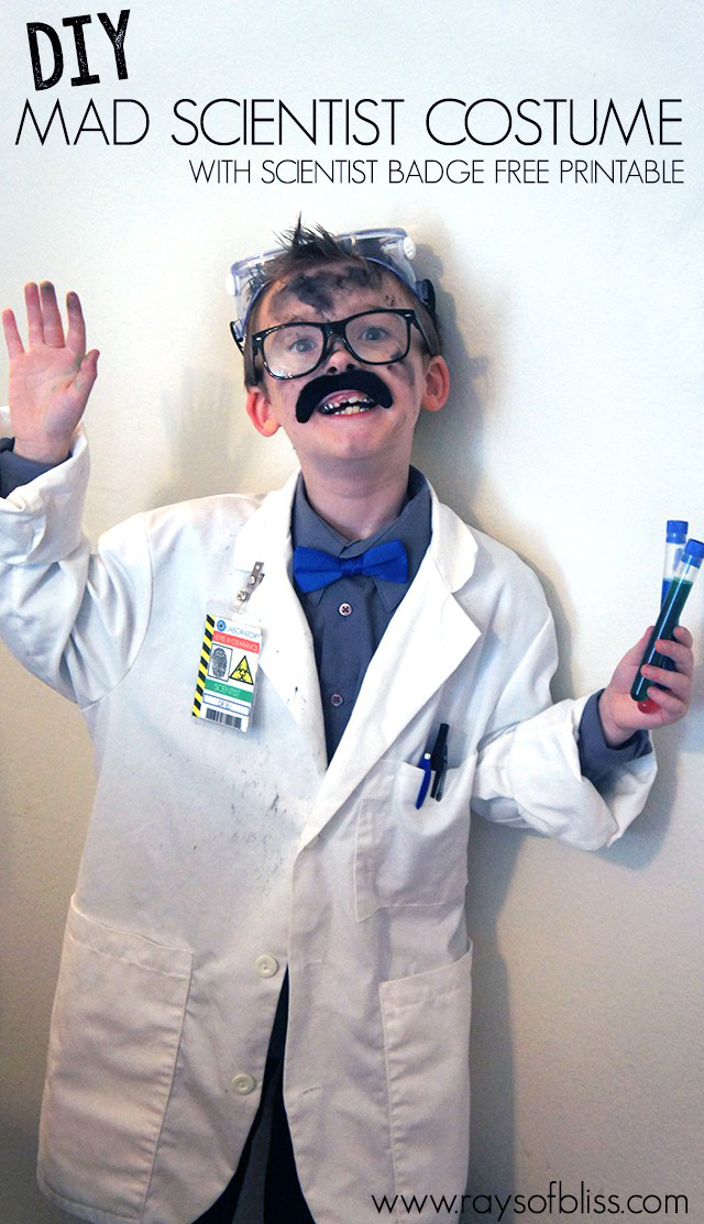 Mad Scientist Costume And Scientist Badge Free Printable - Mad scientist name tag template