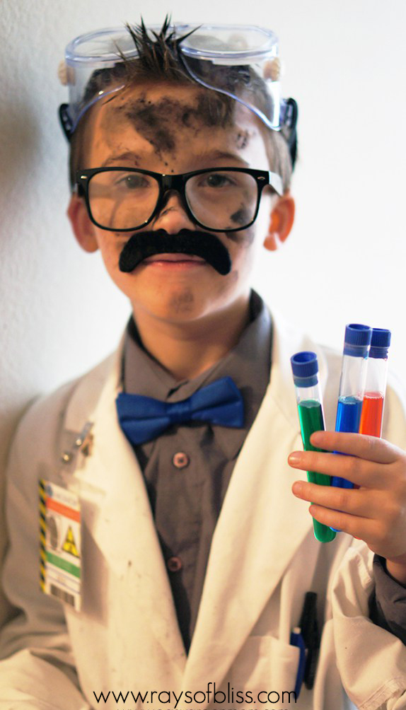 DIY Mad Scientist Costume and Scientist Badge Free Printable