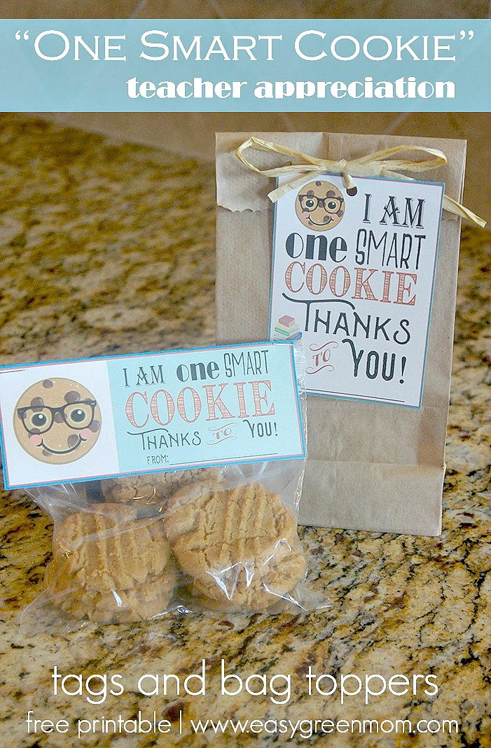 """""""One Smart Cookie"""" Teacher Appreciation Free Printables Tags and Bag Toppers"""