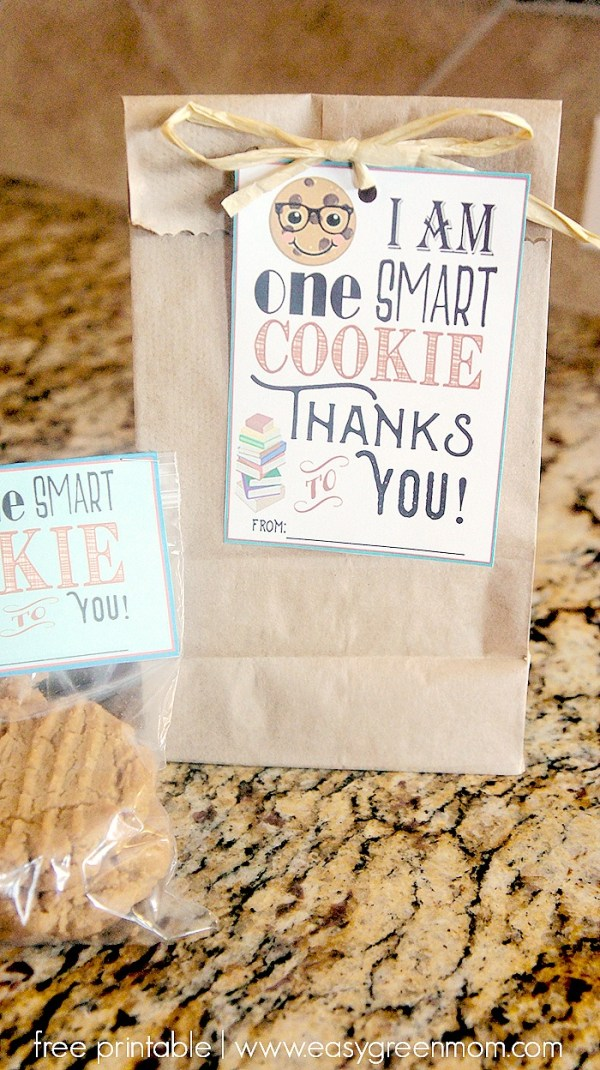 """One Smart Cookie"" Teacher Appreciation Free Printables Tags and Bag Toppers"