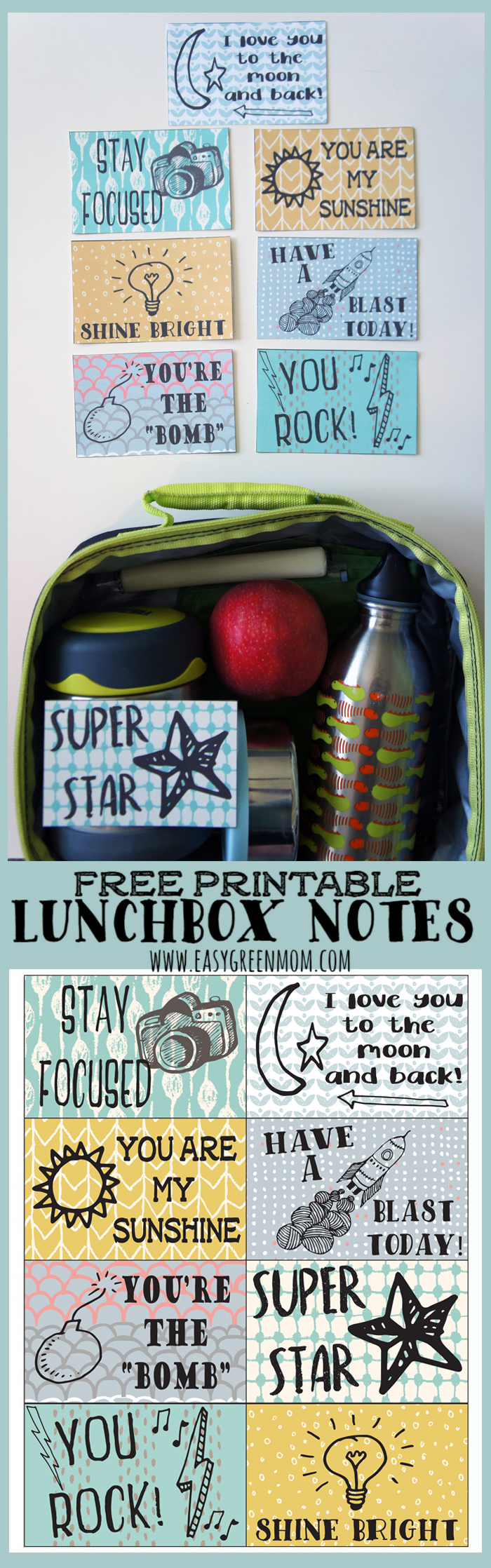 School lunchbox Notes Free Printable from rays of bliss.