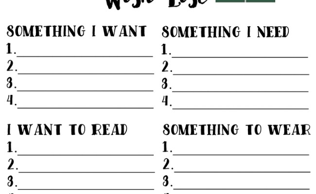 Christmas Wish List Free Printable Using The 4 Gift Rule