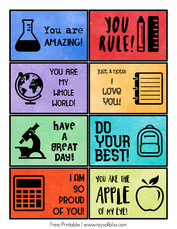School Lunch Box Notes - Free Printable from Rays of Bliss