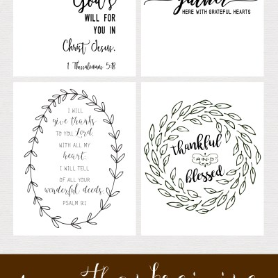 Set of 4 Thanksgiving Free Printables