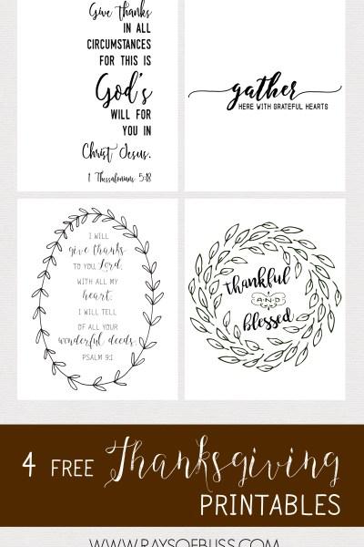 set of 4 Thanksgiving Free Printables