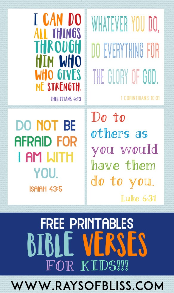 Kids Bible Verses Free Printables - Set of 4 - Rays of Bliss