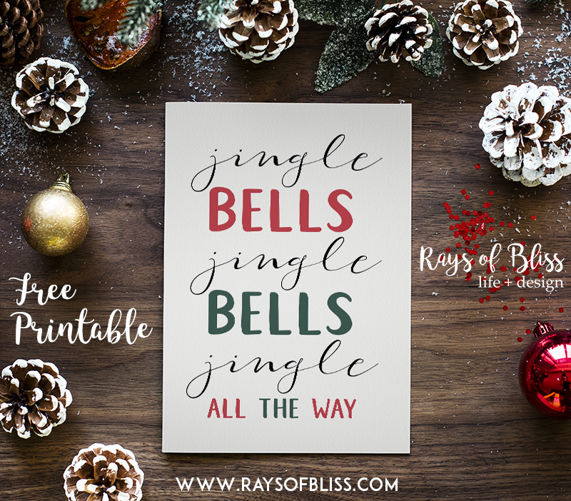 Christmas holiday Jingle Bells Free Printable