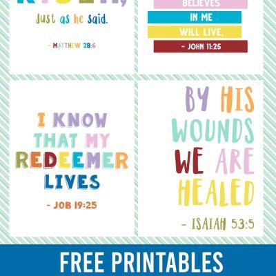 Easter ~ Kids Bible Verses Free Printables ~ Set of 4