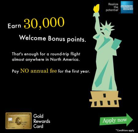 American Express Gold Rewards Card: FREE 30,000 Points = FREE Flight