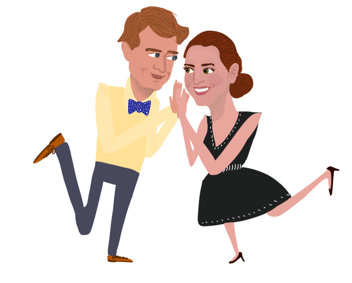 Engagement Love - Caricature Drawing by Margaret Hagan