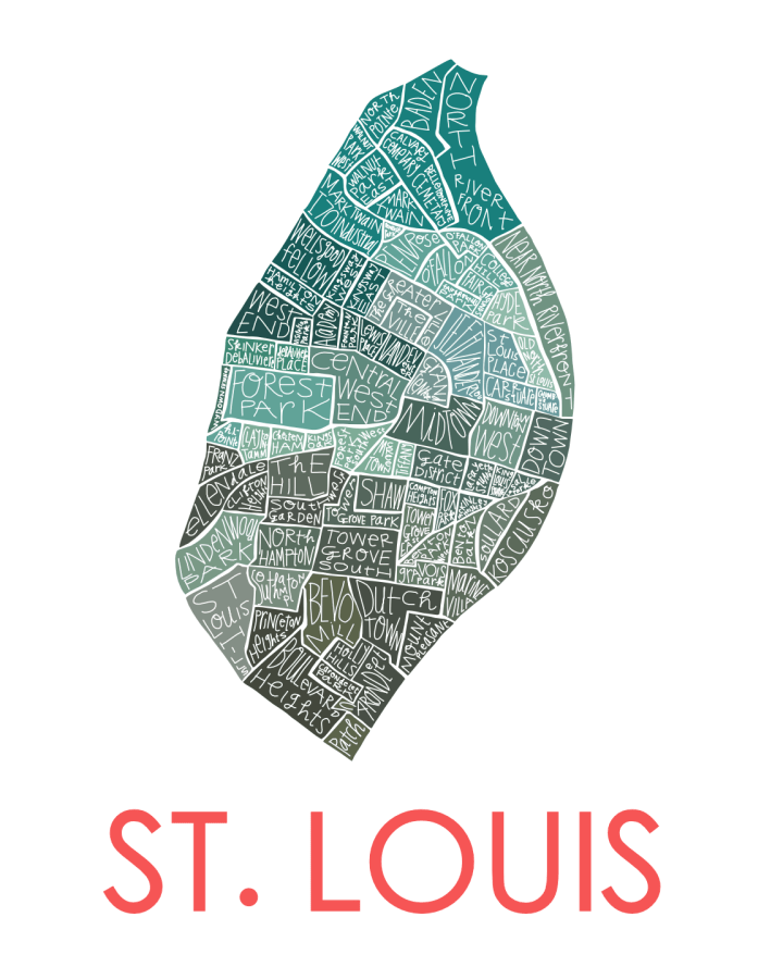 St Louis Map - greens and red text - smaller