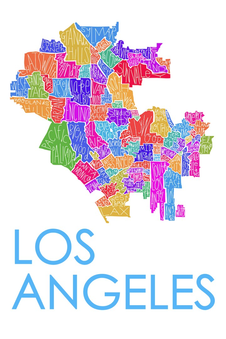 Los Angeles Map - bright color small
