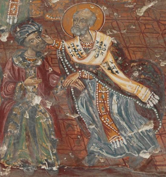Sf. Nicolae palmuieste pe ereticul Arie la Niceea.JPG