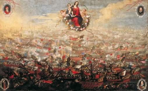 Nuestra Señora del Rosario guia las tropas cristianas contra el ejercito islamista en la batalla de Lepanto. Lienzo al oleo de Juan de Toledo.