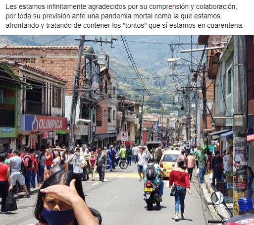 Ciudadanos desacatan cuarentena en el Corregimiento de San Cristóbal Medellín