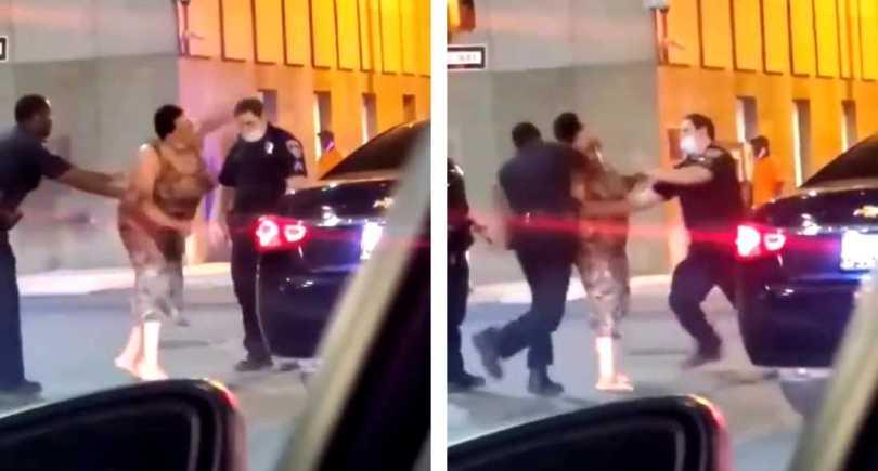 policía golpea mujer