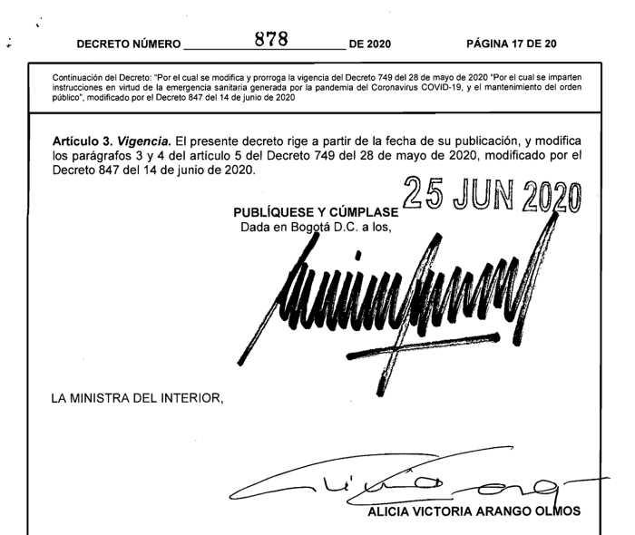 Decreto 878 del 25 de junio de 2020 firma del Presidente