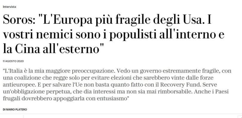 Italian newspaper interviews Soros