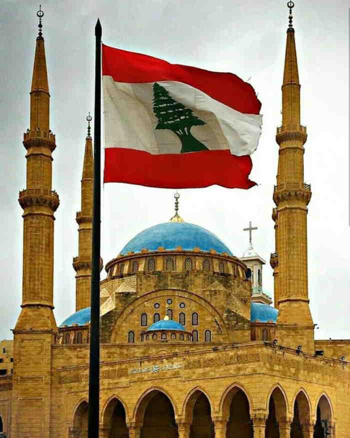 Lebanon Church and flag