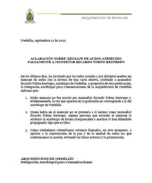 Aclaracion sobre mensaje de audio atribuido a Monsenor Ricardo Tobon Restrepo