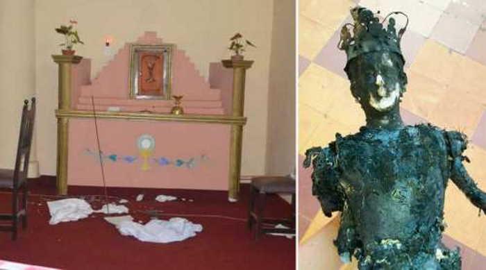 Imagen de la Virgen quemada