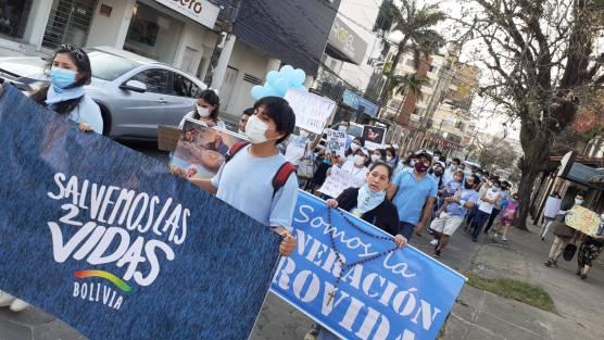 Pancartas con frases provida en la marcha de Santa Cruz