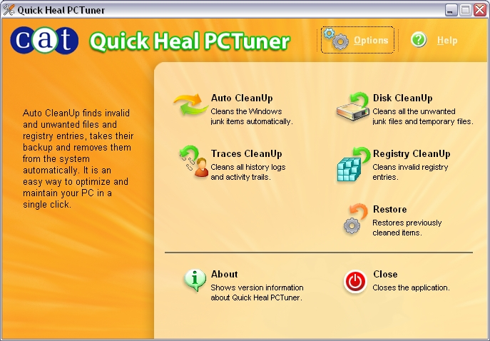 PCTuner Main Window