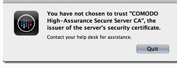 """You have not chosen to trust """"CA"""", the issuer of ther server's security certificate"""