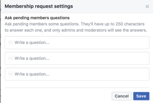 Ask pending members some questions. They'll have up to 250 characters to answer each one, and only admins and moderators will see the answers.