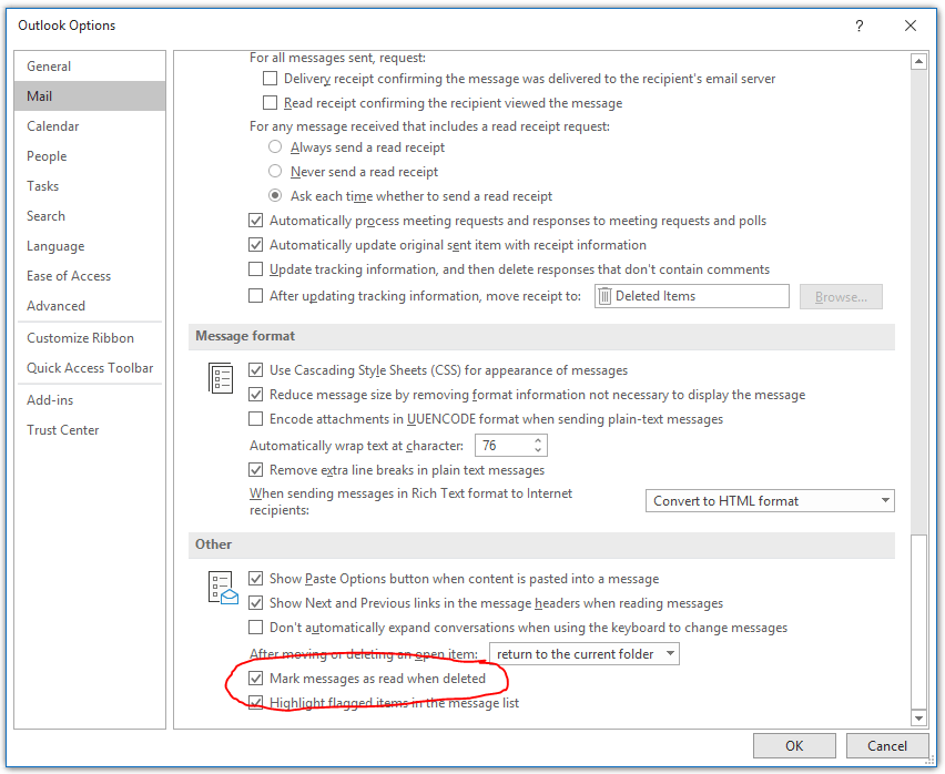 """Screenshot of Outlook Options, navigated to Mail and Other. The setting """"Mark messages as read when deleted"""" is highlighted."""